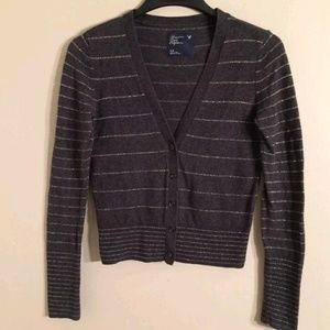 American Eagle Sm cropped cardigan gray and silver
